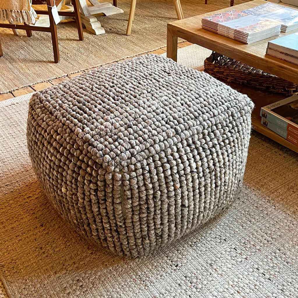 New Zealand Wool Pouf in Grey