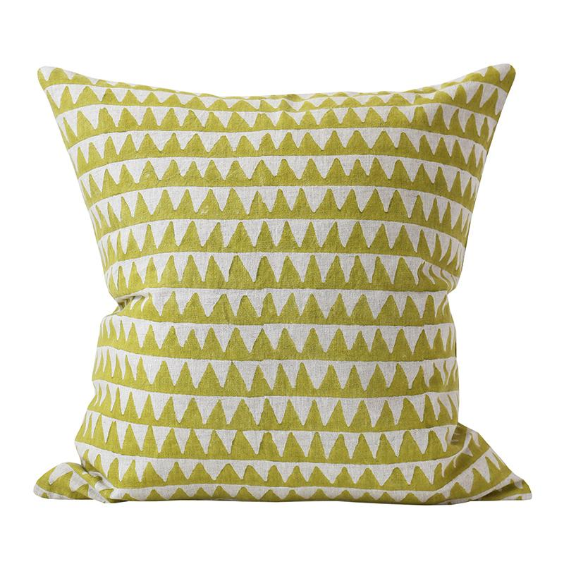 Pyramids Pista Linen Pillow Cover w/ Down Filler