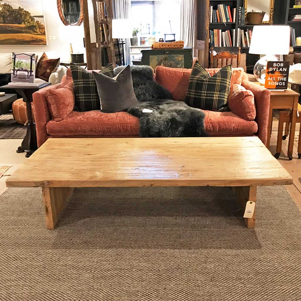 Rustic Plank Base Coffee Table Made From Vintage Reclaimed Wood
