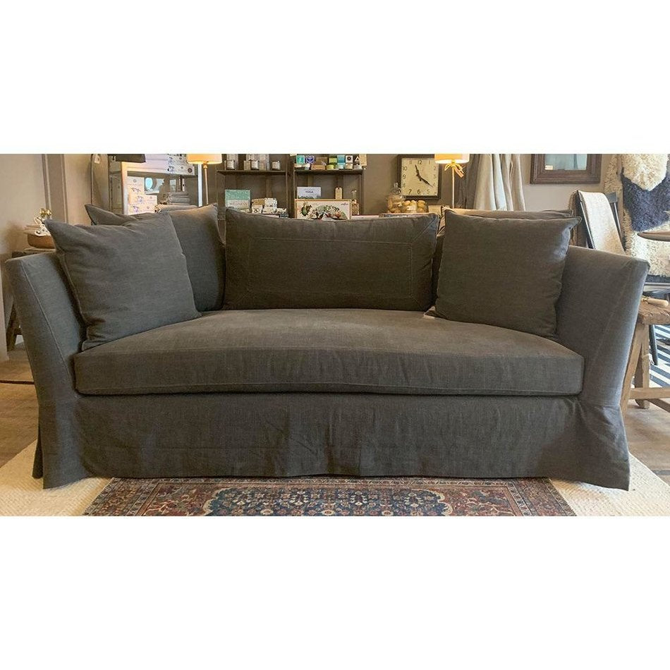 "Seda 84"" Sofa Slipcovered in Molino Slate Organic Cotton w/ Feather Cloud Cushions by Cisco Home"