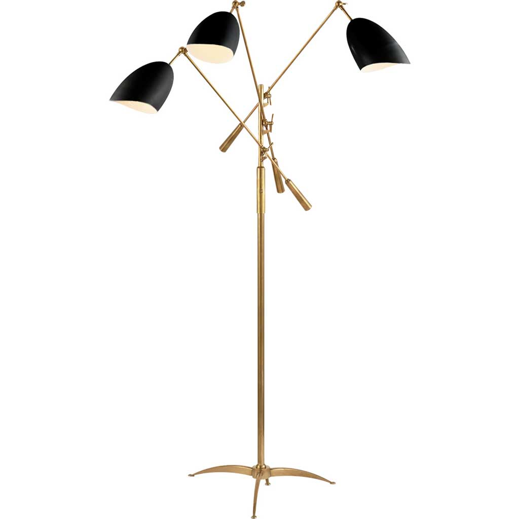 Sommerard Triple Arm Floor Lamp in Hand Rubbed Antique Brass w/ Black Shade