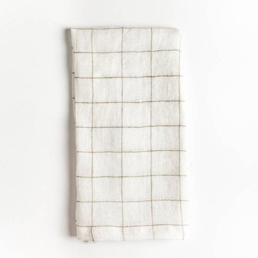 Stone Washed Linen Windowpane Napkins in Navy or Taupe