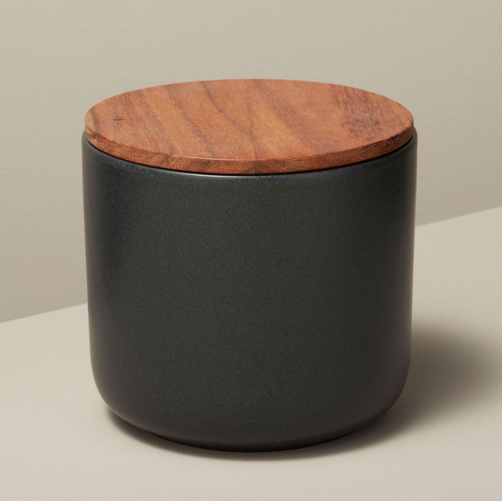 Black Stoneware Containers w/ Acacia Wood Lid