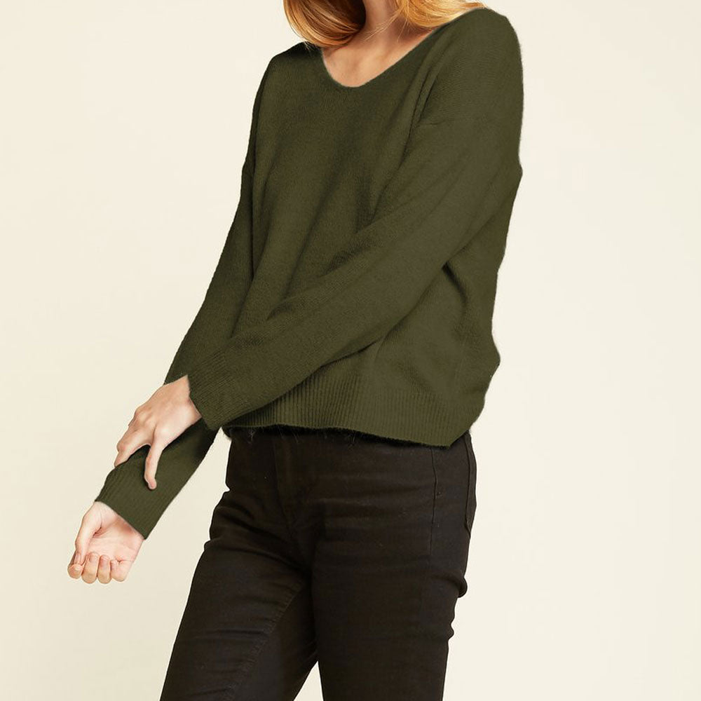 Basic V-Neck Sweater in Olive