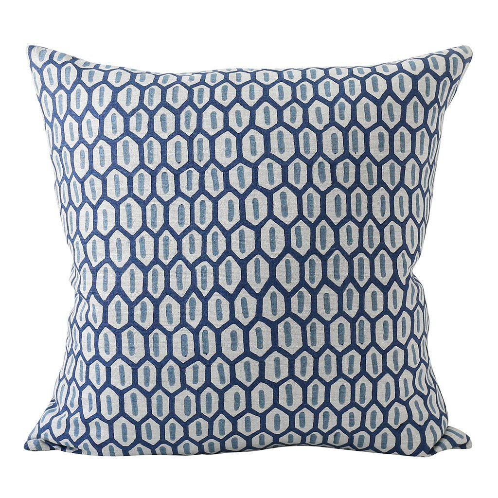 Tapi Azure Linen Pillow Cover w/ Down Filler