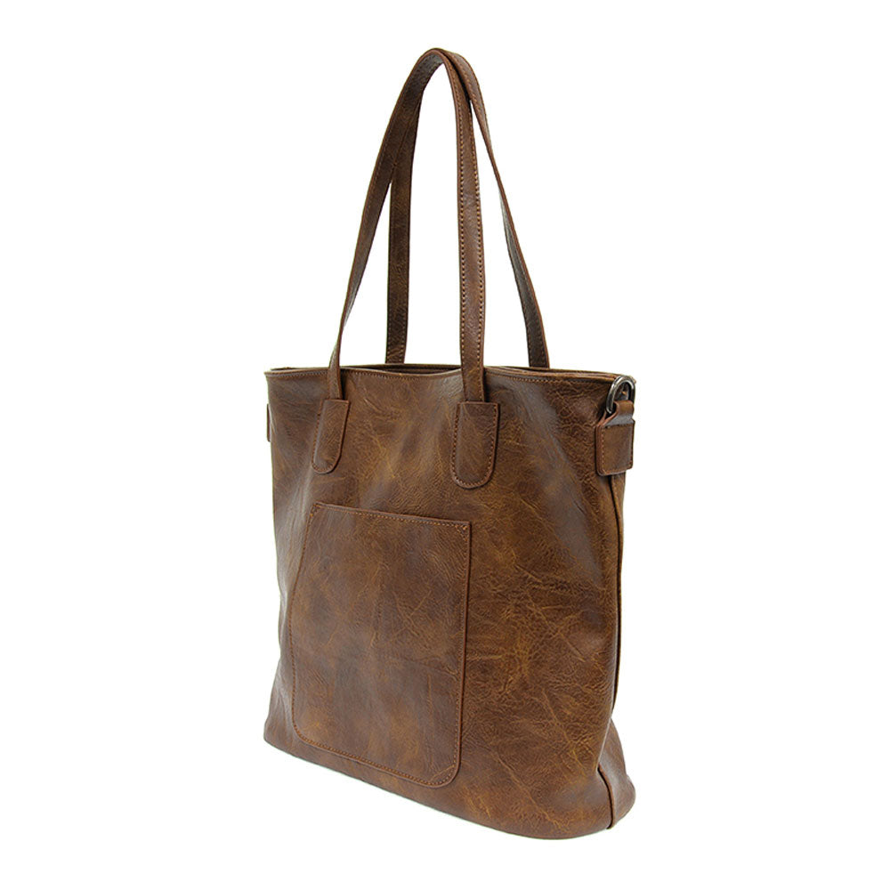Vegan Leather Terri Traveler Zip Tote in Pecan