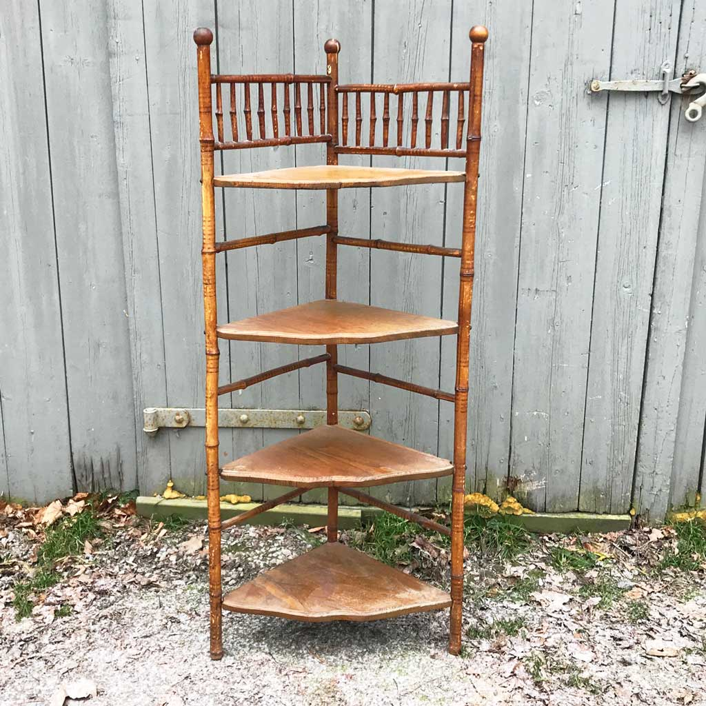 Vintage Victorian Bamboo and Oak Corner Shelf