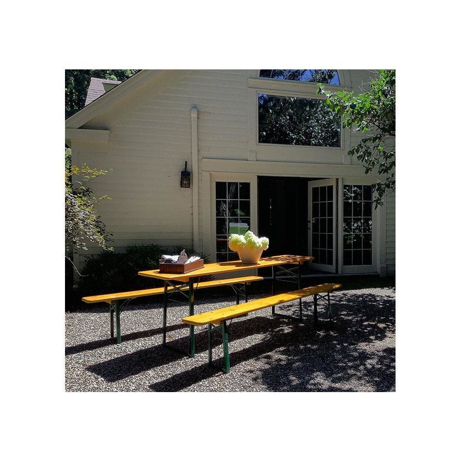 Vintage Biergarten Table w/ 2 Benches
