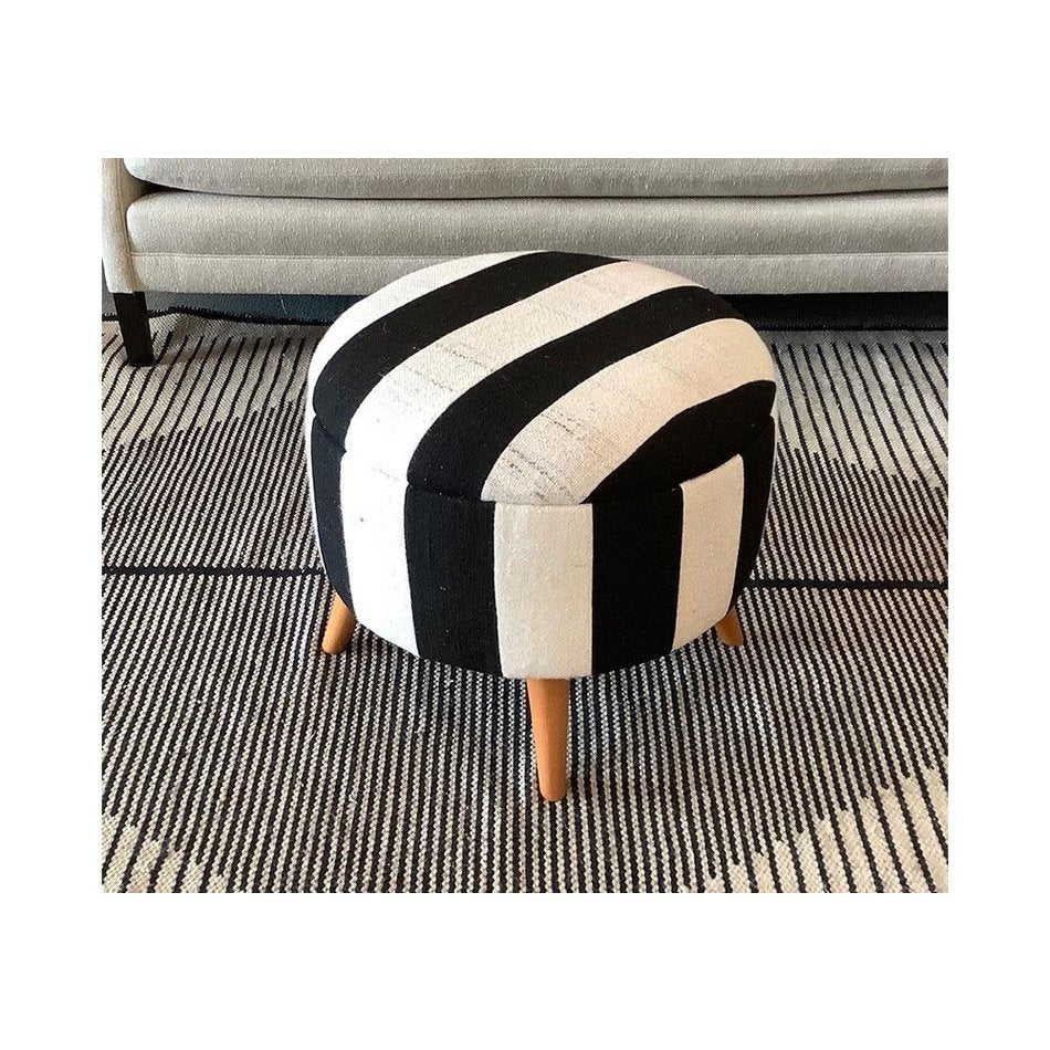 Vintage Black & White Stripe Stool Ottoman 500019-A