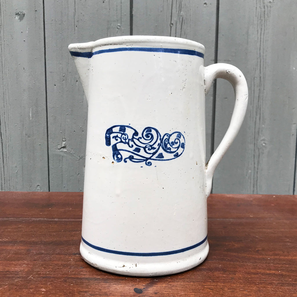 Vintage Blue and White Stoneware Pitcher