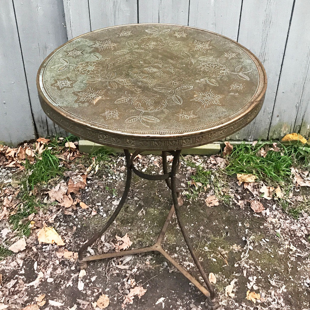 Vintage French Brass Top Deco Table