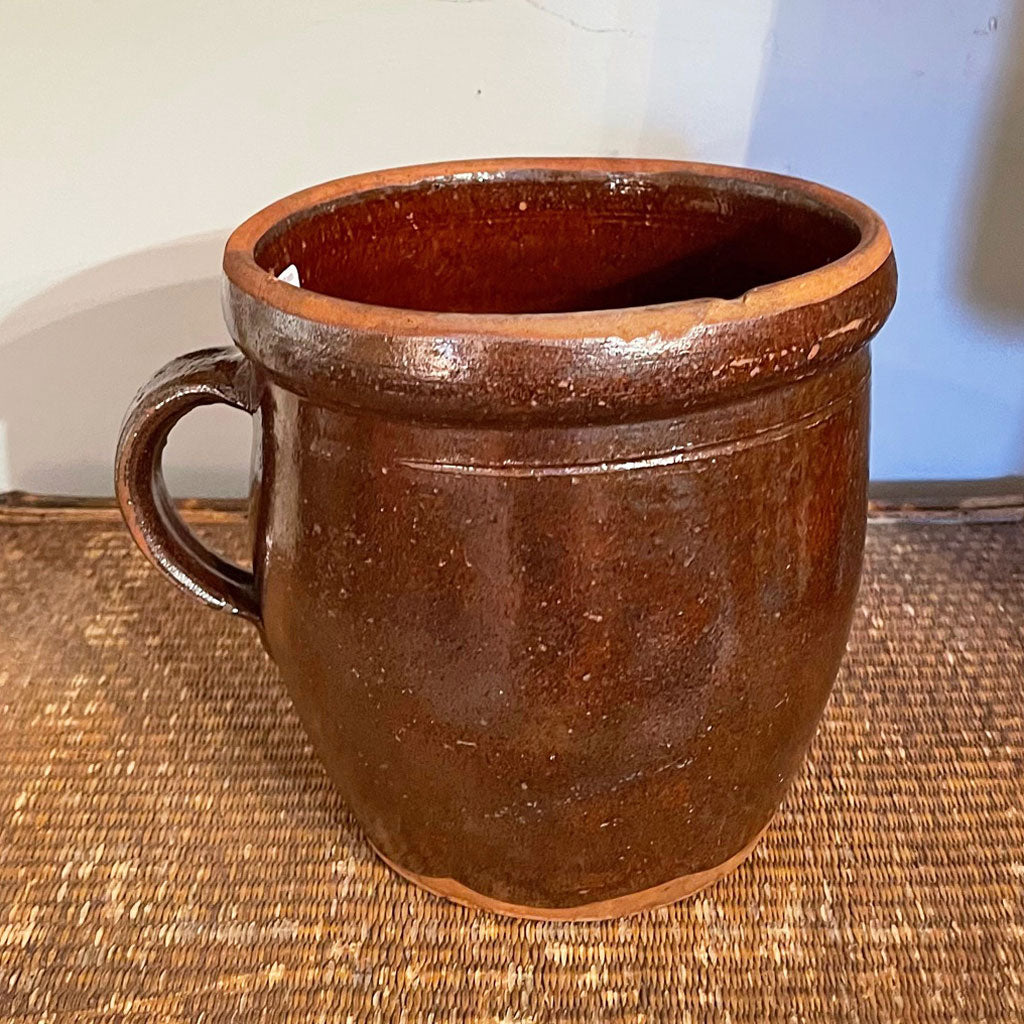 Handled Butter Crock/Pitcher Glazed Pennsylvania Redware  c. late 1800's