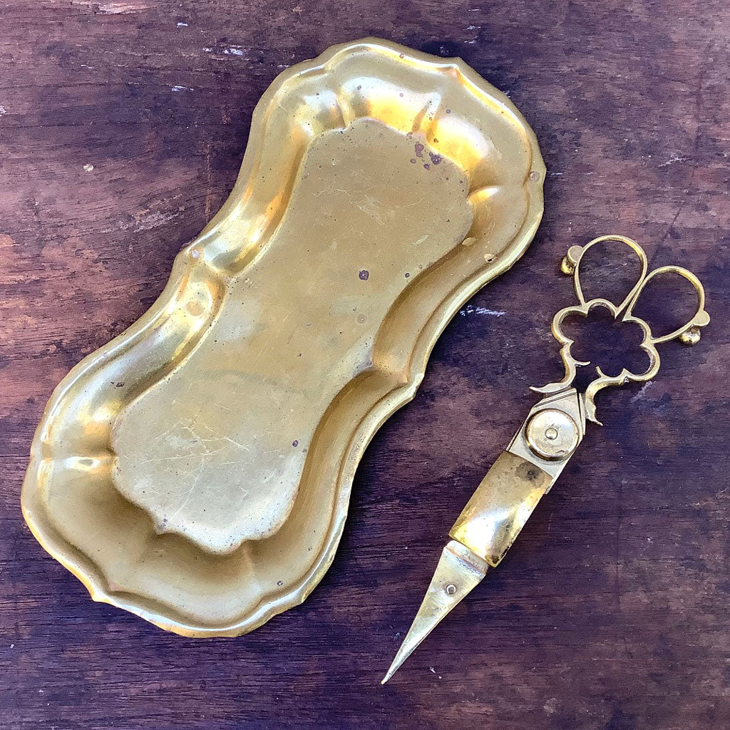 Early Brass Candle Snuffer w/ Tray