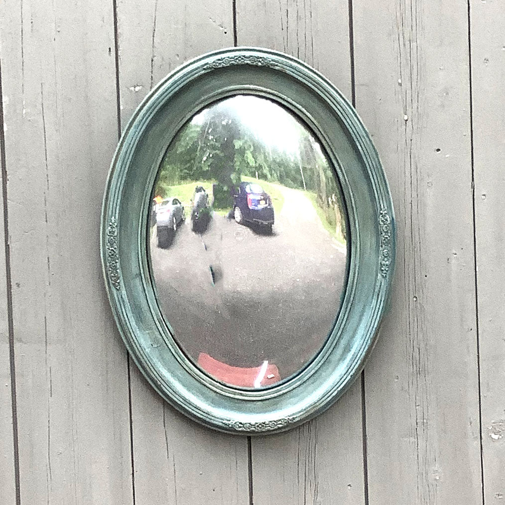 Vintage Blue Painted Convex Mirror