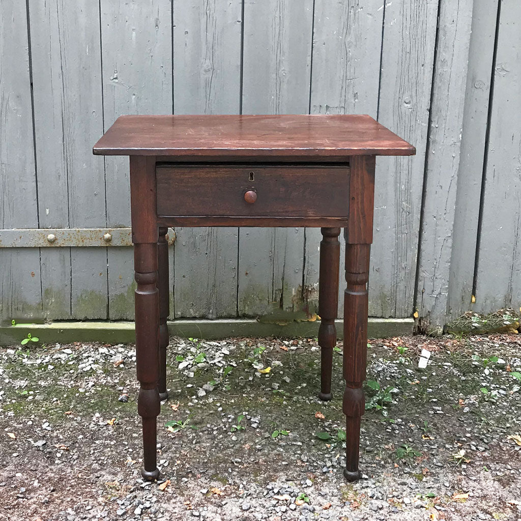 Vintage Dark Finished Clear Pine Sheraton Single Drawer Stand Ca.1840-1870