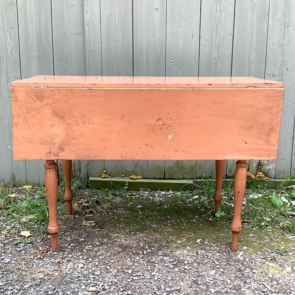 Antique Drop Leaf Sheraton Table in Salmon Paint, circa 1820