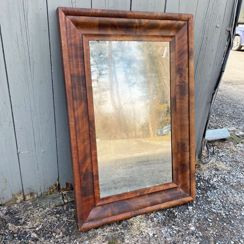 Vintage 1830 Empire Mahogany Mirror w/ Original Plate Glass