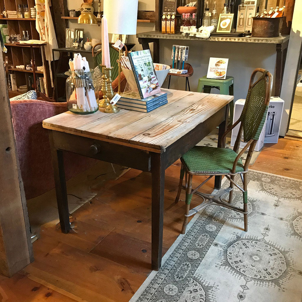 Vintage English Farm Table w/ Scrubbed Top and Two Drawers