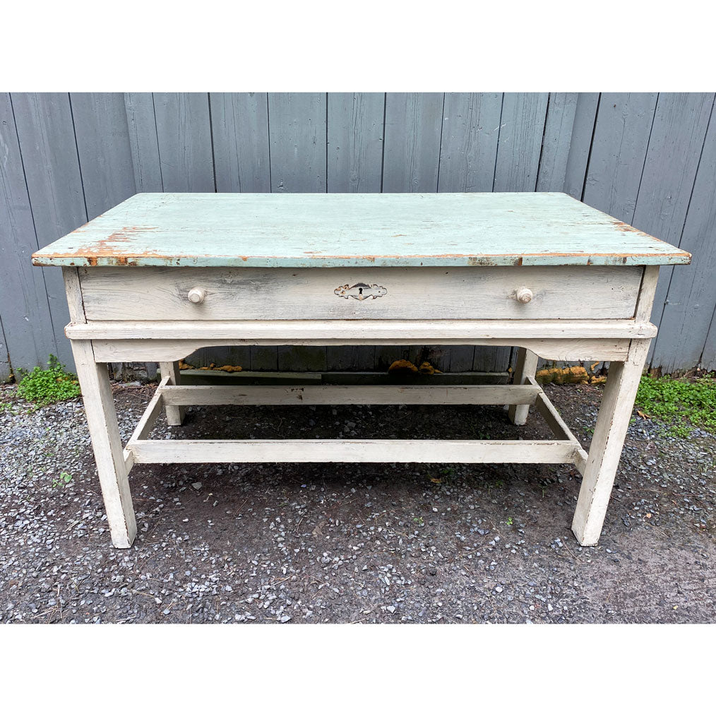 Vintage English Painted Pine Painted Counter