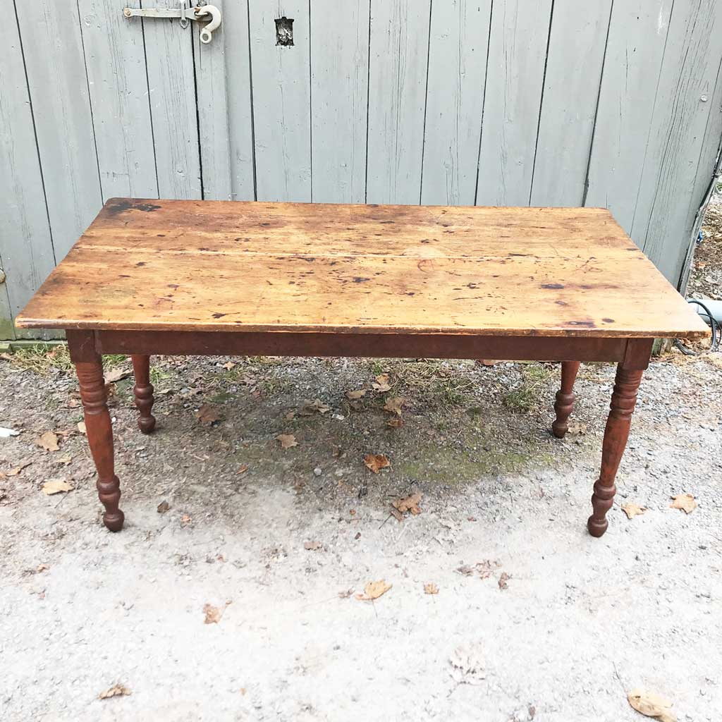 19th Century Country Sheraton Farm Table w/ Scrub Top, Base w/ Turned Legs in Old Red Paint
