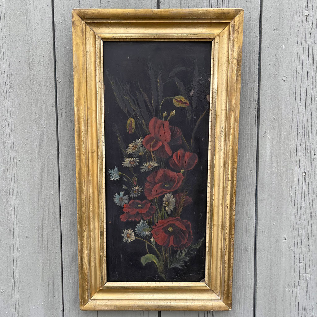 Vintage Framed Flower Painting on Metal