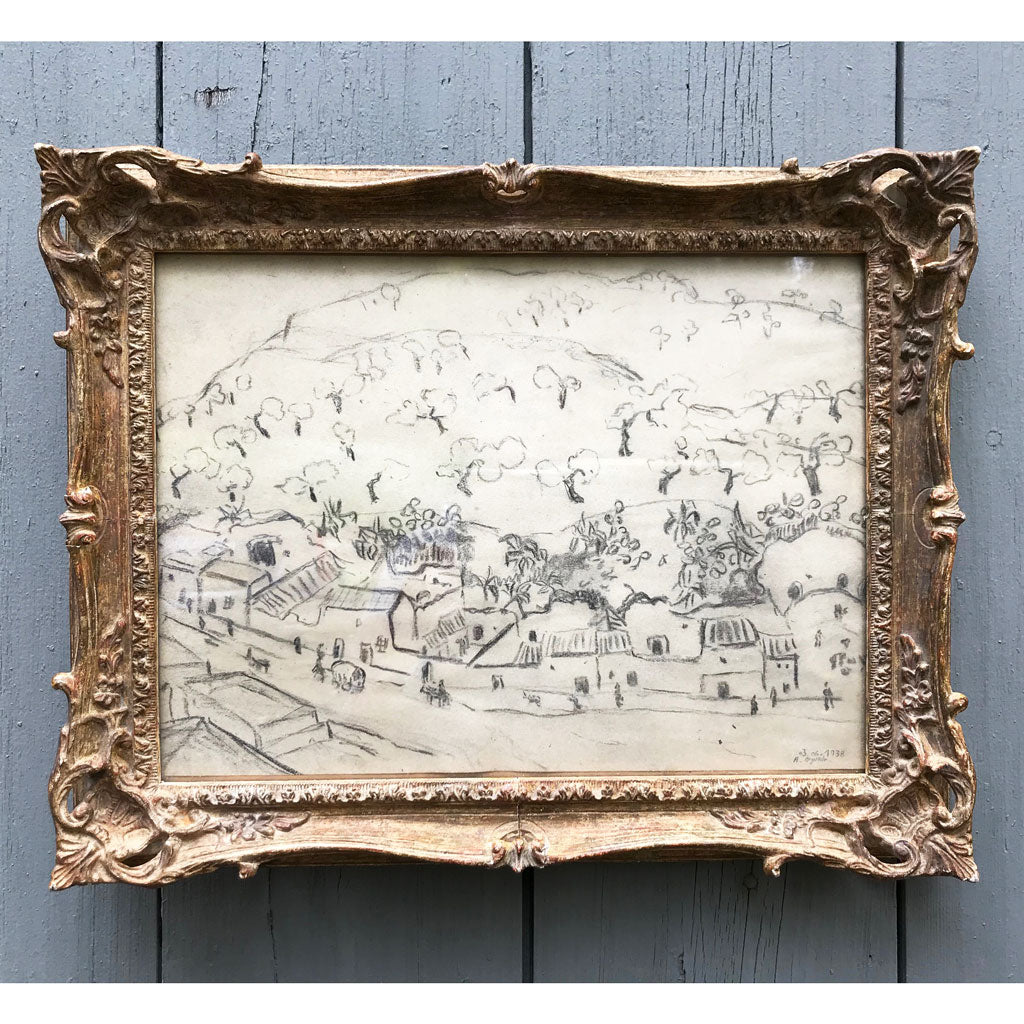 Vintage Framed 19th Century French Etching
