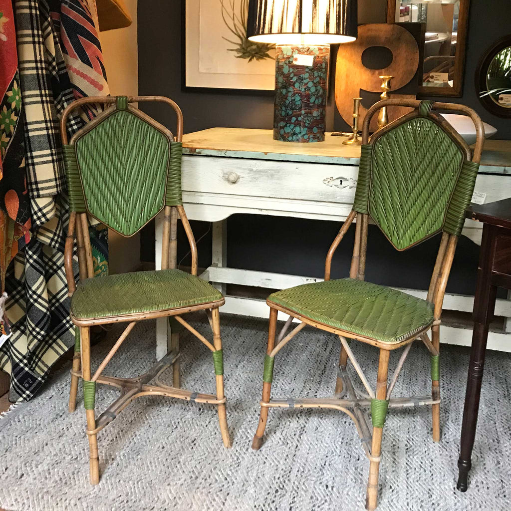 Pair of Vintage French Rattan Chairs