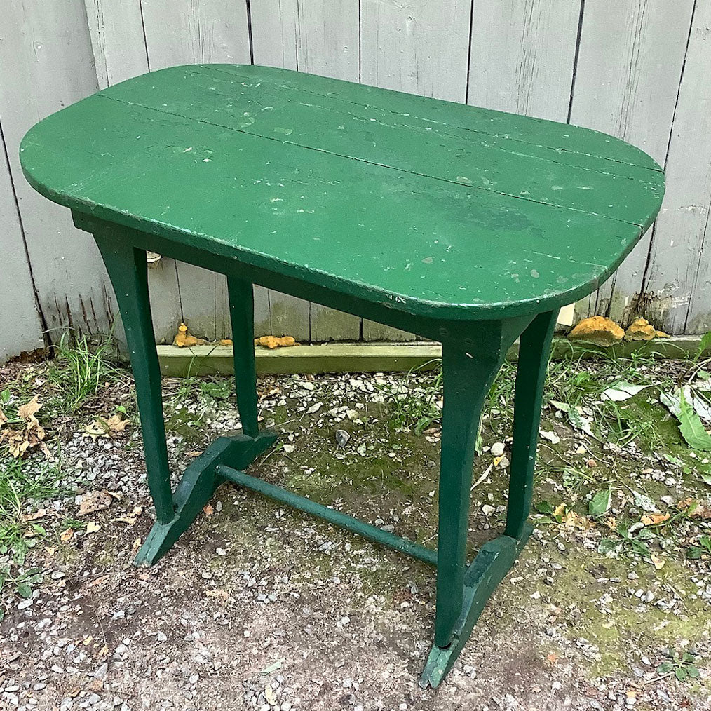 Rustic Green Painted Table w/ Axe Handle Legs