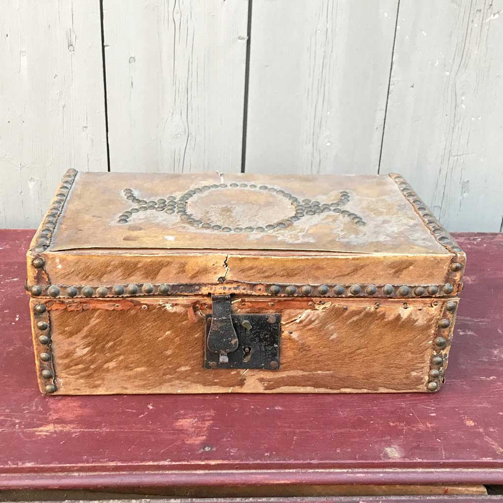 Vintage Early Hide Covered Document Box