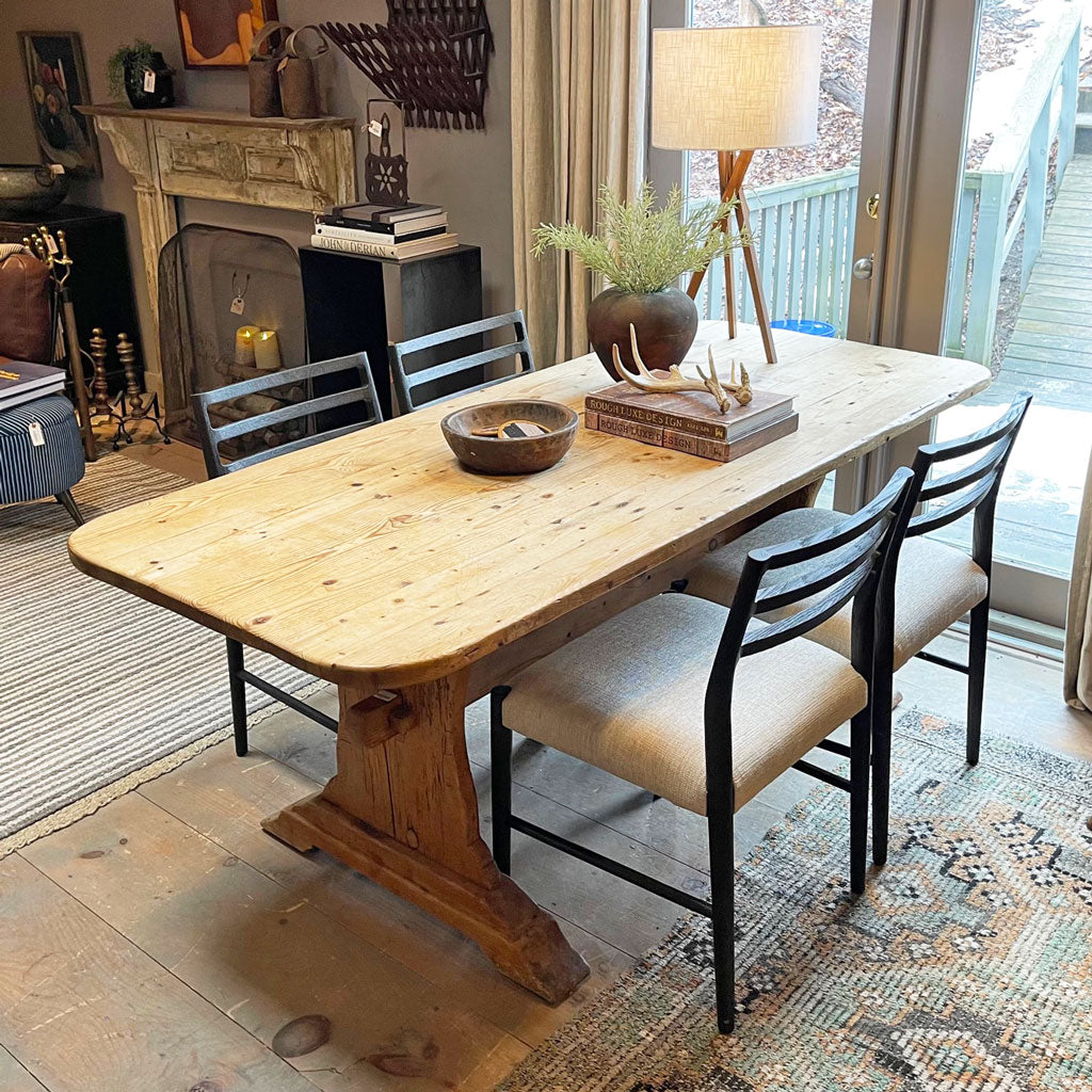 Vintage Irish Pine Trestle Table