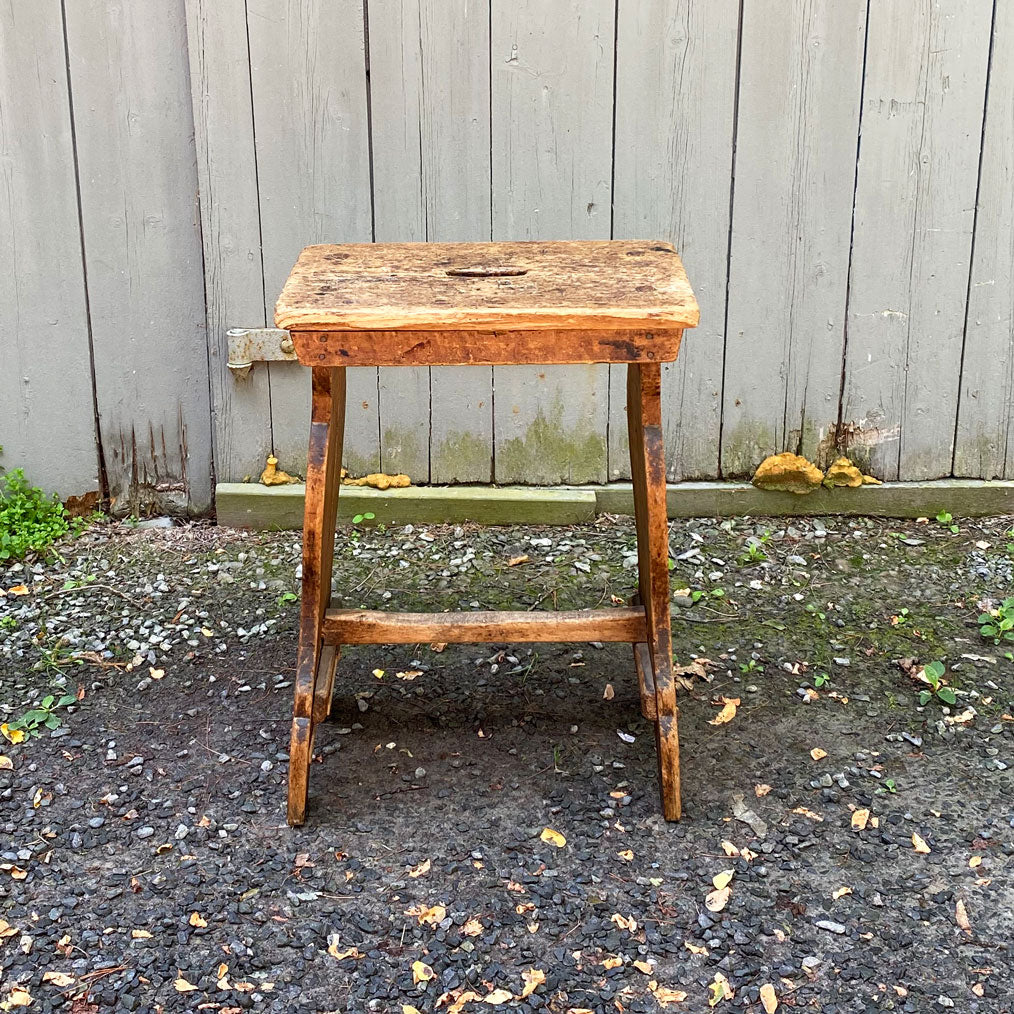 Vintage Large Spanish Factory Stool