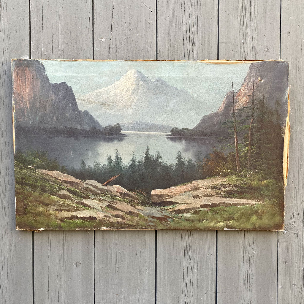 Early 1900's Oil on Canvas Mountain & Lake Scene