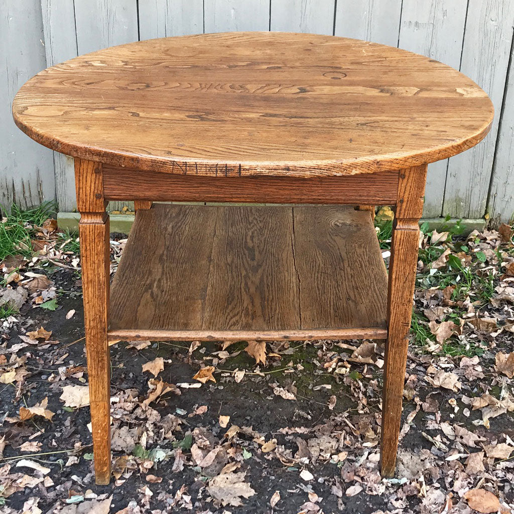 Vintage French Chestnut Table w/ Shelf