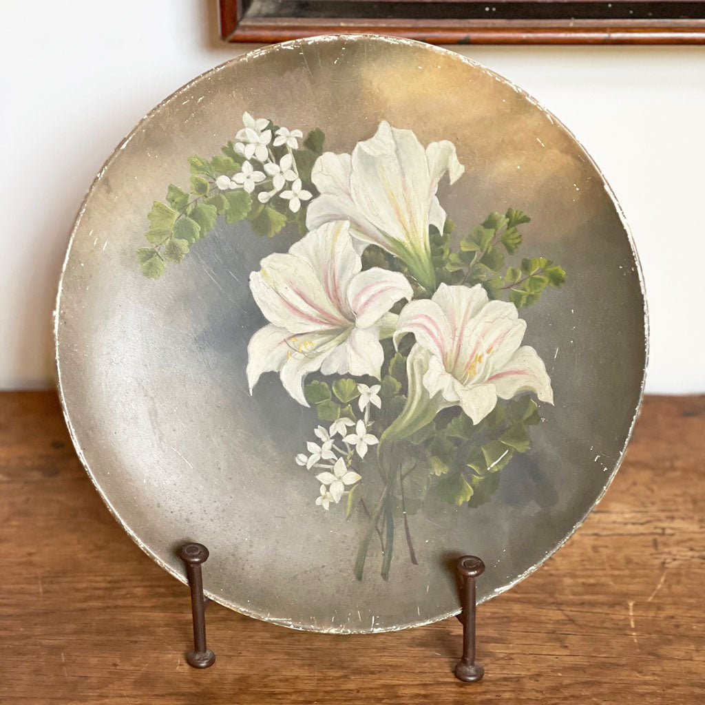 Antique English Painted Plate; 19th Century