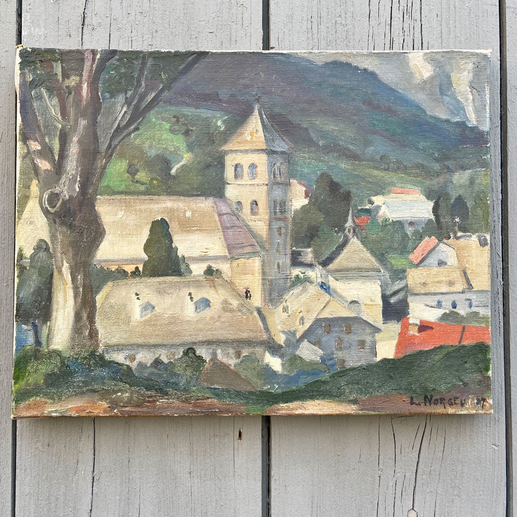 Vintage 1927 French Countryside Oil Painting