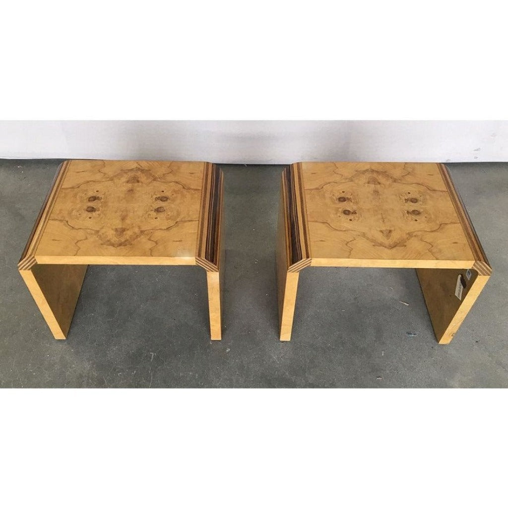 Vintage Pair of Henredon Scene Two Olive Burl Side Tables