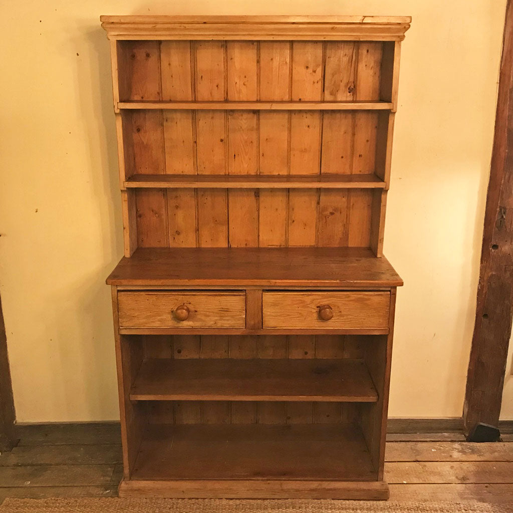 Vintage English Pine Two Piece Hutch