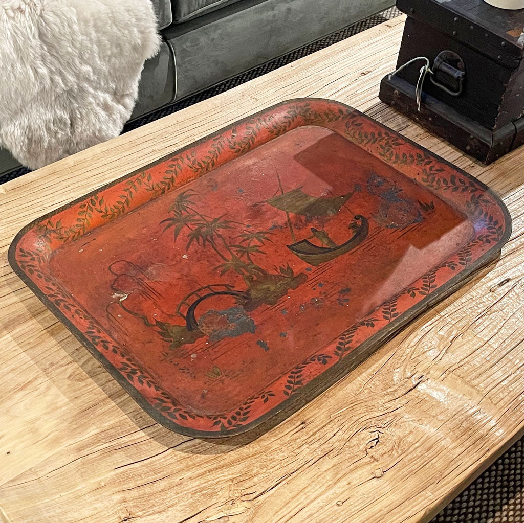 Vintage Large Red Tole Tray