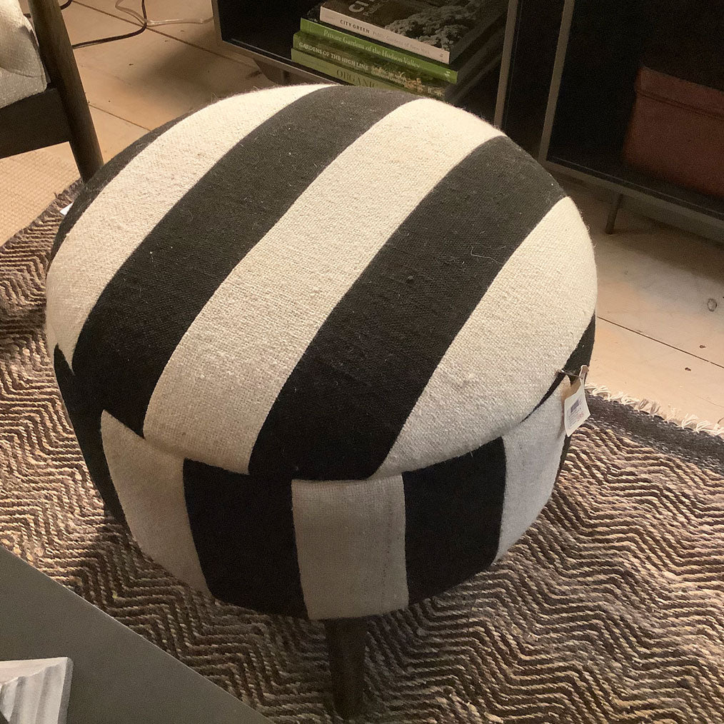 Vintage Black & White Stripe Stool Ottoman 50019-E