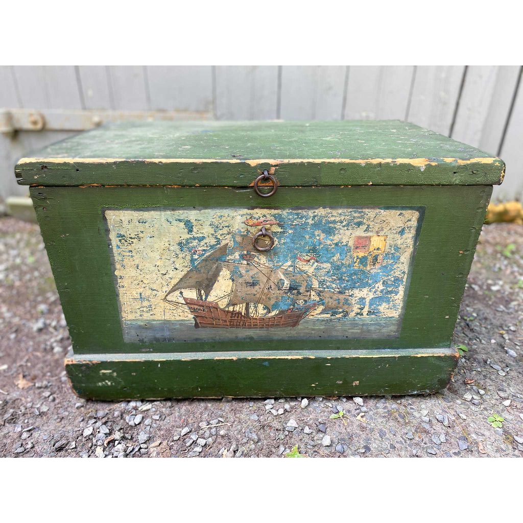 Vintage 19th Century Sailor's Chest w/ Boat Scene
