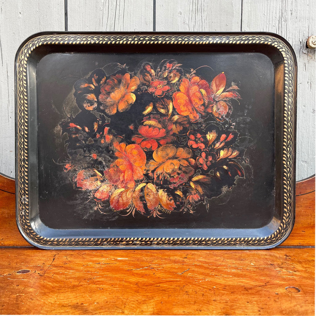 Vintage Signed Hand Painted Tole Tray
