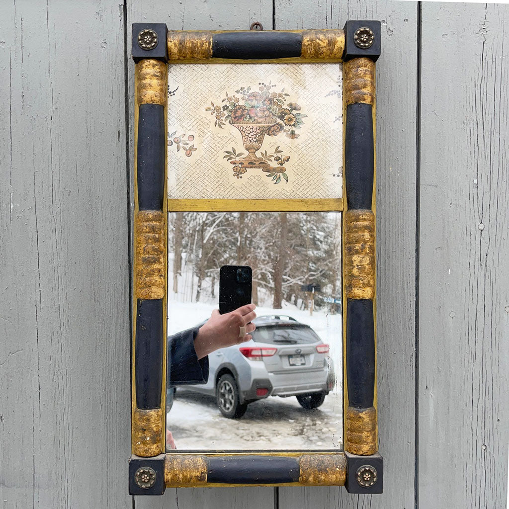 Vintage Split Panel Wall Mirror w/ Wall Paper Upper Table; circa 1870-1890