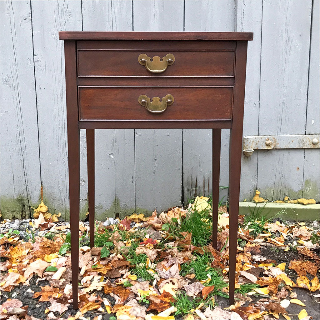 Antique Tapered Leg Two Drawer Table