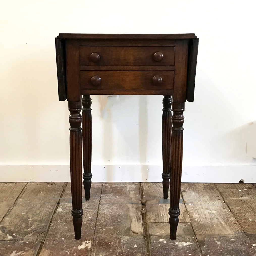 Vintage Drop Leaf Two Drawer Stand