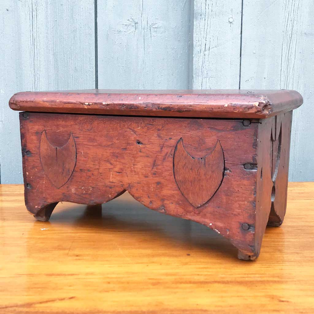 Vintage Red Vermont Foot Stool