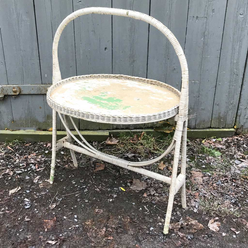 Vintage Wicker Oval Folding Table