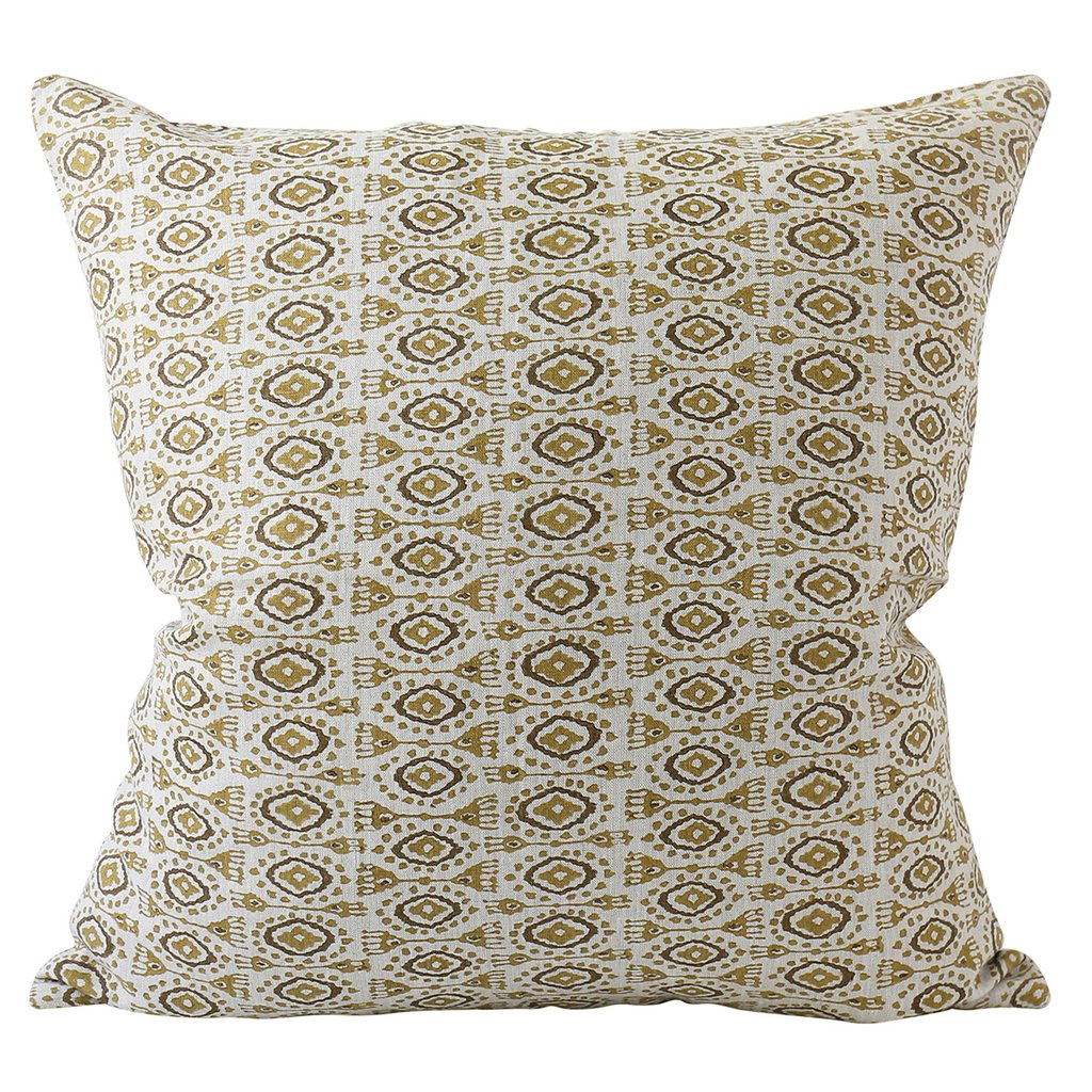 Yuzu Saffron Linen Pillow Cover w/ Down Filler