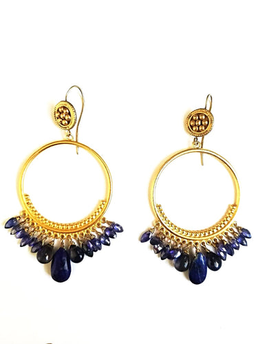 Kyanite & Lapis Gold Circle Earrings