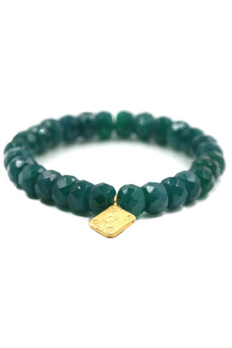 Green Onyx & Gold Charm Stretch Bracelet