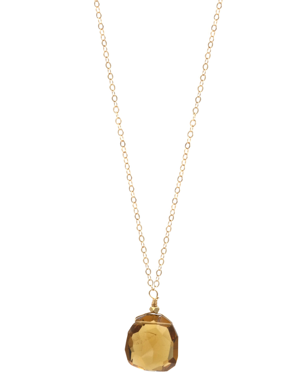 Smokey Topaz Drop Necklace